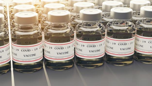 Renderowanie 3d butelka ze szczepionką covic-19 do wstrzykiwań, które są starannie umieszczone