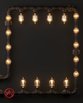 Renderowanie 3d. ciemna ściana loftowa lampa steampunk z rur.