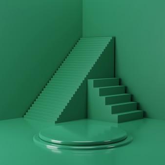 Renderowanie 3d cokół renderowania koloru zielonego lasu do prezentacji marki, tożsamości i opakowania z tłem schodów