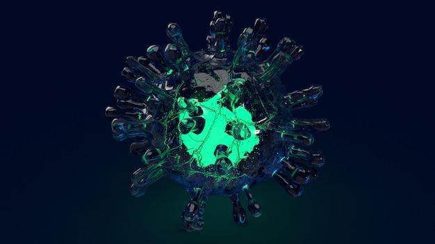 Renderowanie 3d covid 19 wirus mikroorganizmów dla treści medycznych.