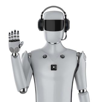 Renderowanie 3d cyborg sztucznej inteligencji lub robot z ręką zestawu słuchawkowego na białym tle