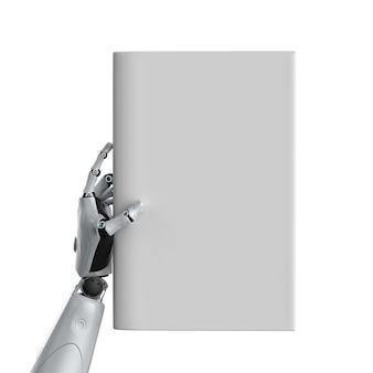 Renderowanie 3d cyborg trzymaj puste strony książki na białym tle