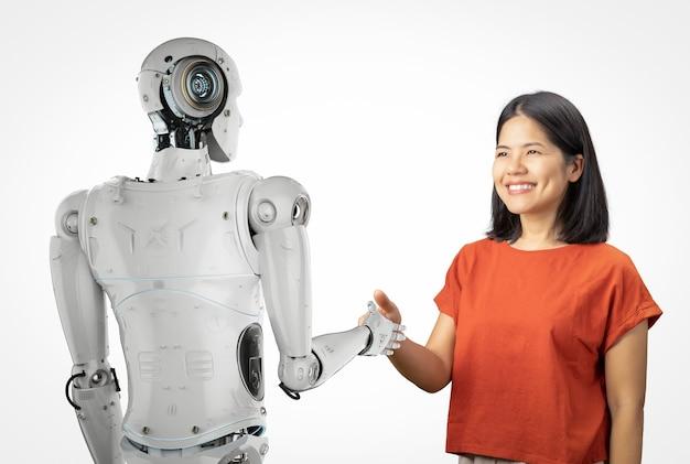 Renderowanie 3d cyborga potrząsać ręką z azjatycką kobietą