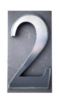 Renderowanie 3d cyfry 2 w maszynopisach drukowanych literami
