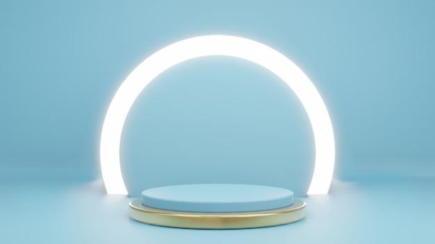 Renderowanie 3d cyjanu z pierścieniem świecącym na stojaku produktu i złotem