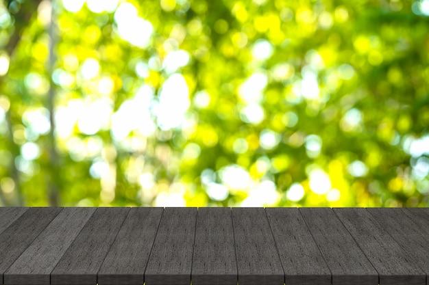 Renderowanie 3d, czarne drewniane półki lub czarny drewniany stół z widokiem natury w tle,
