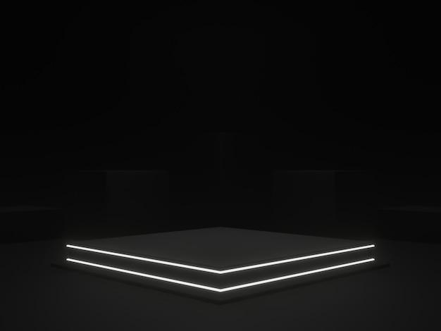 Renderowanie 3d. czarne geometryczne podium na scenie. ciemne tło.