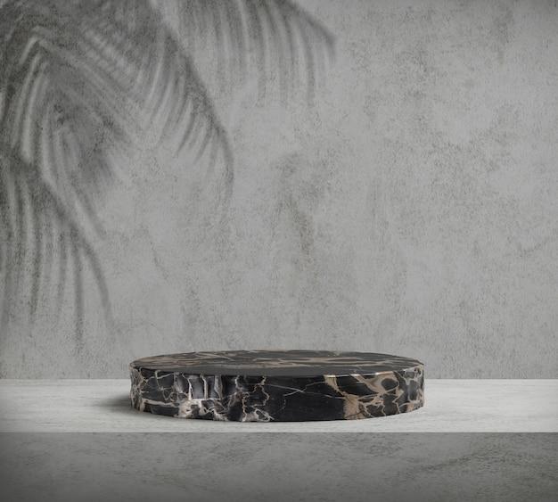 Renderowanie 3d czarne podium z palmą w kształcie liścia, abstrakcyjne tło, cokół do ekspozycji produktów marki
