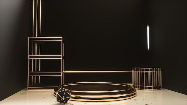 Renderowanie 3d czarnego realistycznego z podium platformy złotej sceny do wyświetlania produktu