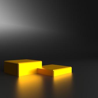 Renderowanie 3d czarno-żółtego abstrakcyjnego minimalnego złotego podium w tle