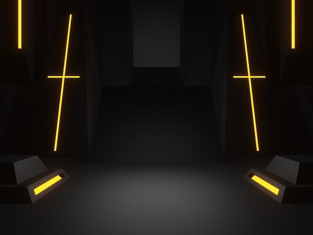 Renderowanie 3d czarny etap naukowy. ciemne tło.