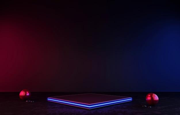 Renderowanie 3d czarny metalowy wyświetlacz podium na czarnej i ciemnej półce produktu laser stojący blask neon