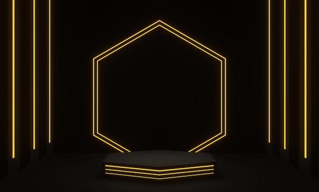 Renderowanie 3d czarny stojak na produkt z żółtym światłem neonowym
