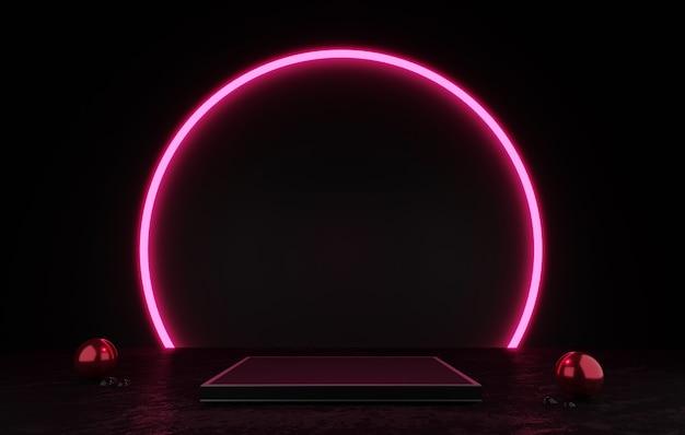 Renderowanie 3d czarny wyświetlacz podium lub cokół pusty produkt stojący różowy okrąg blask neonowego światła
