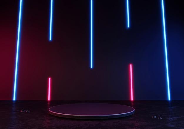 Renderowanie 3d czarny wyświetlacz podium lub cokół pusty produkt stojący w kolorze niebieskim i różowym neonowym światłem laserowym