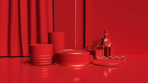 Renderowanie 3d czerwieni z minimalistycznymi kształtami geometrycznymi do ekspozycji produktów