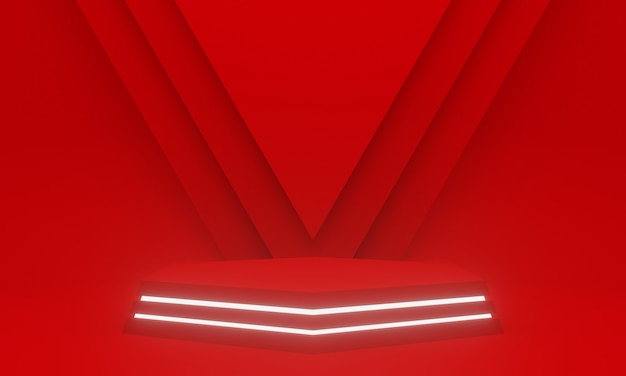 Renderowanie 3d. czerwone geometryczne podium z białymi neonami.