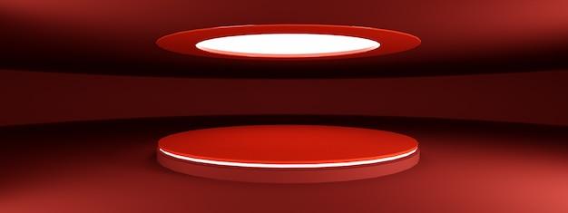 Renderowanie 3d czerwonego pustego nowoczesnego salonu z pustym cokołem i oświetleniem led. do wyświetlania produktów, układ panoramiczny