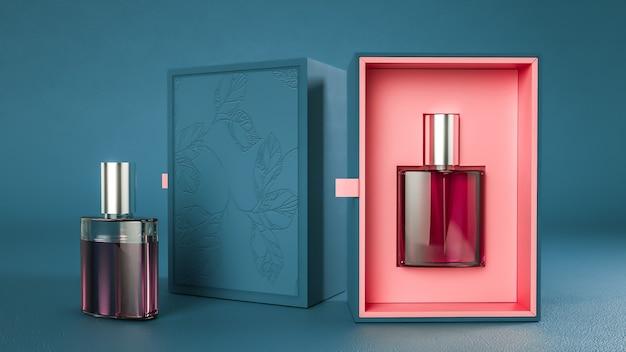 Renderowanie 3d czerwonego stoiska do pakowania perfum