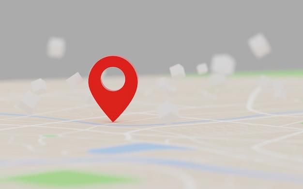 Renderowanie 3d czerwony gps punkt docelowy na mapie, dla nawigatora i trasy dla koncepcji podróży, wybierz fokus płytka głębia ostrości