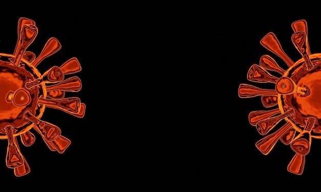 Renderowanie 3d. czerwony mikroskopijny wirus wzbogacony covid-19. światowa pandemia kryzysu.