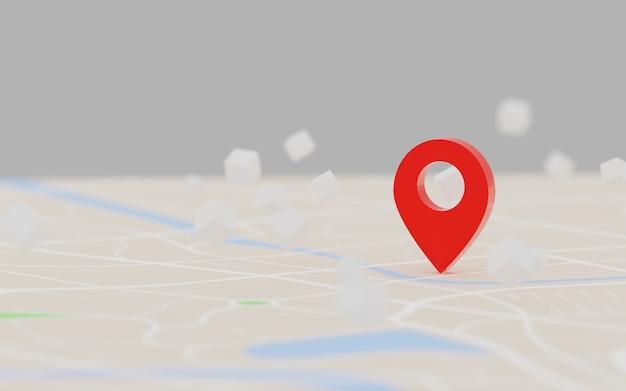 Renderowanie 3d czerwony punkt docelowy gps na mapie