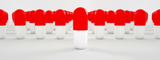 Renderowanie 3d czerwonych i białych tabletek, obraz panoramiczny