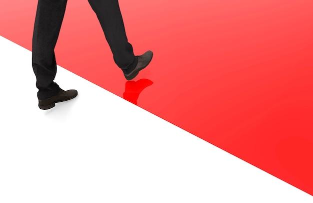 Renderowanie 3d. człowiek biznesu, który kontynuuje od białego do czerwonego obszaru jako przywódca lub koncepcja nowej szansy.