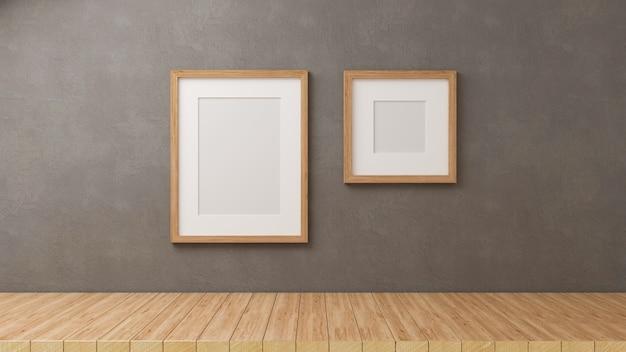 Renderowanie 3d, dekoracje domu z makietami ramek na tle szarej ściany poddasza z drewnianą podłogą, ilustracja 3d