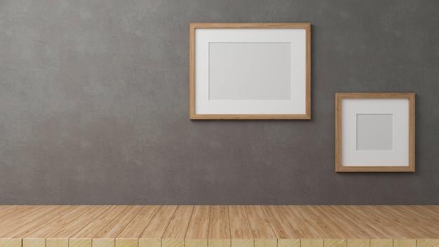 Renderowanie 3d, dekoracje domu z makietami ramek na tle szarej ściany poddasza z miejscem na kopię na drewnianym stole, ilustracja 3d