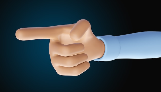 Renderowanie 3d dłoni pokazującej jeden palec lub wskazujący