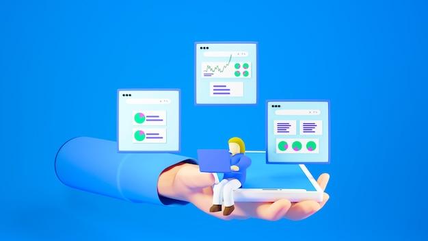 Renderowanie 3d dłoni trzymającej kobietę pracującą na swoim laptopie z wykresami wokół na niebieskim tle