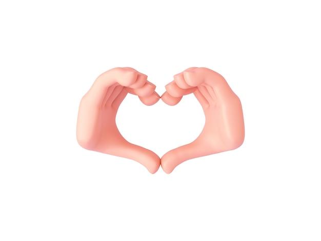 Renderowanie 3d, dłonie z kreskówek wykonują gest serca zaciśniętymi palcami lub okazują miłość