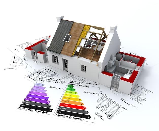 Renderowanie 3d domu w budowie, w górnej części planów, z tabelą oceny efektywności energetycznej