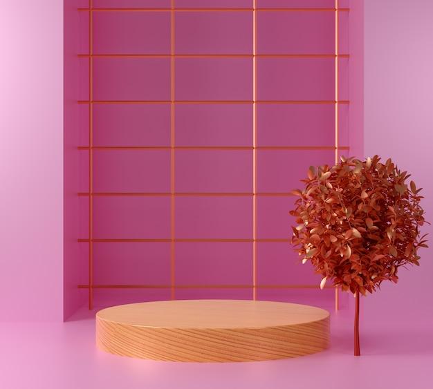 Renderowanie 3d drewniane makieta z różowym tłem, wyświetlaczem lub gablotą.