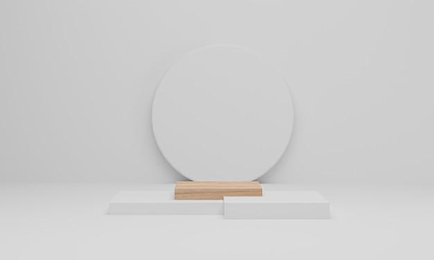 Renderowanie 3d. drewniane podium na białym tle. streszczenie minimalistyczna scena z geometrycznym. postument lub platforma do ekspozycji, prezentacji produktu, makiety, pokazu produktu kosmetycznego