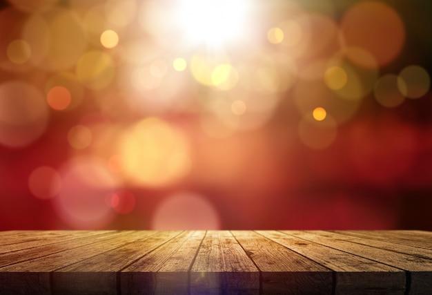 Renderowanie 3d drewnianego stołu na tle światła bokeh