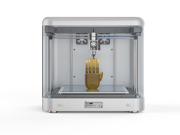 Renderowanie 3d drukarki 3d z robotyczną ręką