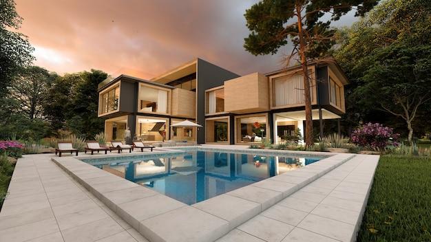Renderowanie 3d dużego nowoczesnego współczesnego domu z drewna i betonu wczesnym wieczorem