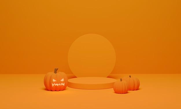 Renderowanie 3d. dynia i podium minimalna scena na tle halloween. abstrakcyjny cokół w kształcie geometrycznym do wyświetlania produktu