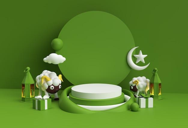 Renderowanie 3d eid mubarak scena minimalnej sceny podium dla produktów wyświetlacza koncepcja projektu islamskiego wydarzenia sprzedaży eid al adha.