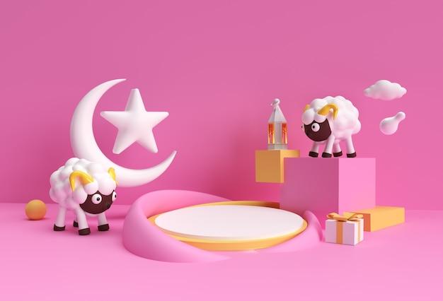 Renderowanie 3d Eid Mubarak Scena Minimalnej Sceny Podium Dla Produktów Wyświetlacza Koncepcja Projektu Islamskiego Wydarzenia Sprzedaży Eid Al Adha. Premium Zdjęcia