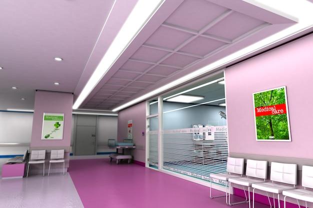 Renderowanie 3d ekskluzywnej nowoczesnej kliniki w odcieniach fioletu