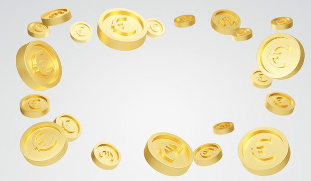 Renderowanie 3d eksplozji złotych monet euro na białym tle