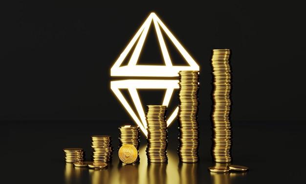 Renderowanie 3d ethereum handel stosem monet koncepcja cyfrowych monet cyfrowa kryptowaluta blockchain