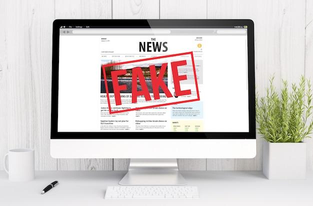 Renderowanie 3d fałszywe wiadomości na komputerze