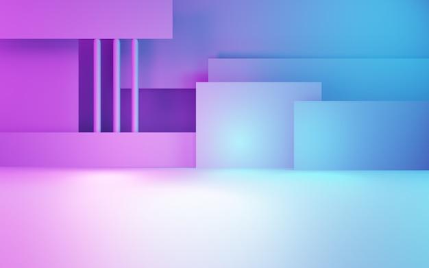 Renderowanie 3d fioletowego i niebieskiego abstrakcyjnego geometrycznego tła cyberpunkowej technologii reklamowej