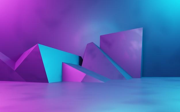 Renderowanie 3d fioletowego i niebieskiego abstrakcyjnego tła geometrycznego cyberpunk koncepcja reklamowa