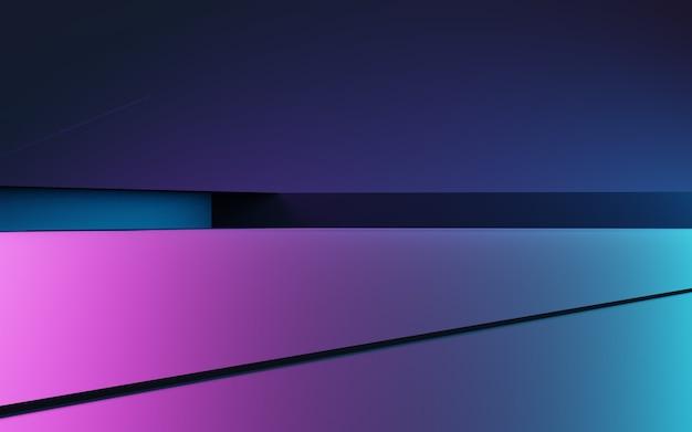 Renderowanie 3d fioletowego i niebieskiego abstrakcyjnego tła geometrycznego cyberpunk koncepcja reklamy