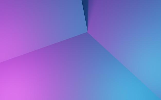 Renderowanie 3d fioletowego i niebieskiego abstrakcyjnego tła geometrycznego reklama technologia cyberpunk